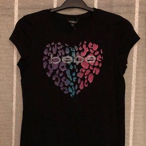 NEW bebe Black T-Shirt w/ Multi-Colored Heart